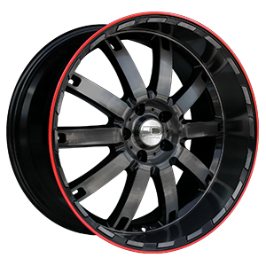 HD Wheels Autobahn Black Machined W/ Redline
