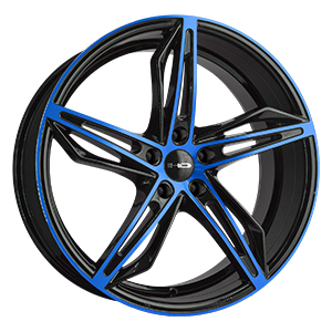 HD Wheels Fly-Cutter Gloss Black Blue Face