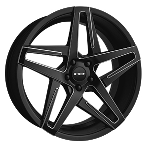 HD Wheels Hairpin Satin Black Milled Edges