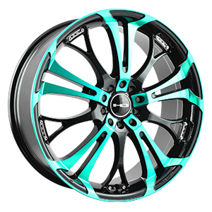 HD Wheels Spinout Black Machined w/ Teal