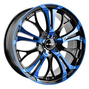 HD Wheels Spinout Gloss Black Machined W/ Blue