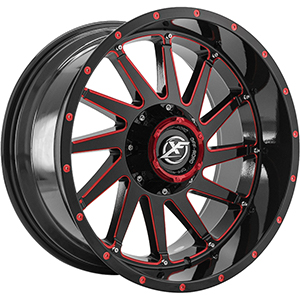 XF Offroad XF-216 Gloss Black Red Milled