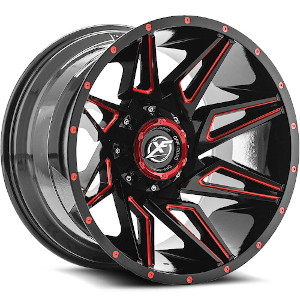 XF Offroad XF-218 Gloss Black Red Milled