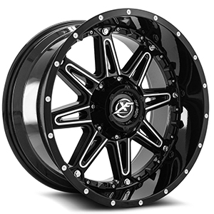 XF Offroad XF-217 Gloss Black and Milled With Black Inserts