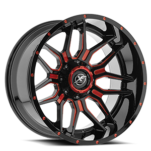 XF Offroad XF-222 Gloss Black Red Milled